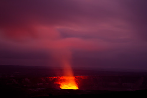 Volcanic eruption in Volcanos National Park, Volcano, Big Island Hawaii at dusk