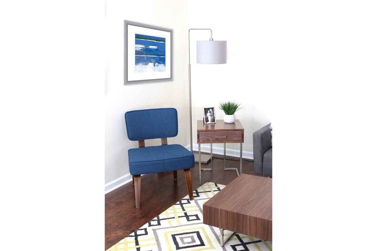 Nunzio Mid-Century Modern Accent Chair in Navy Blue by ...