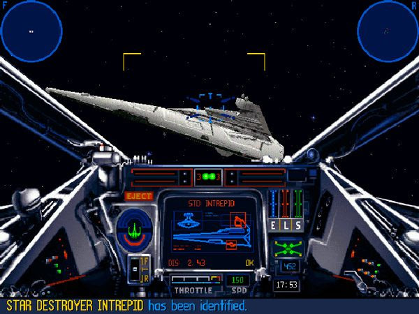 Using an X-Wing fighter to take on an Imperial Star Destroyer in the STAR WARS: X-WING video game.
