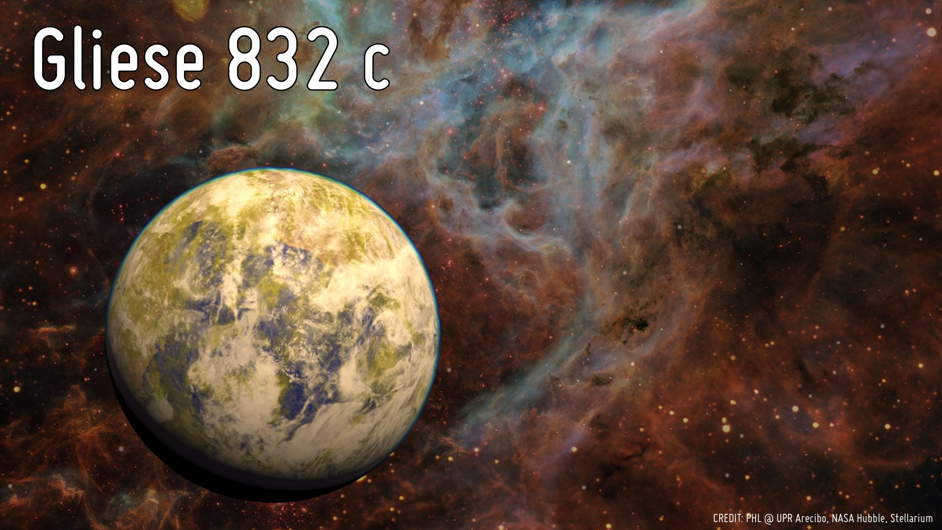 An artistic representation of Gliese 832 c against a stellar nebula background. A new paper says Gliese 832 might be home to another planet similar to this, but in the habitable zone. Credit: Planetary Habitability Laboratory at the University of Puerto Rico, Arecibo, NASA/Hubble, Stellarium.