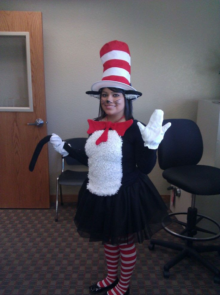 Super Easy Homemade Womens Cat In The Hat Costume Cat In The Hat
