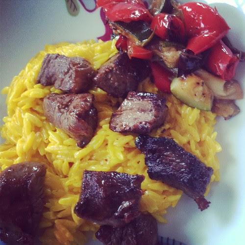 saffron risoni ,veggies