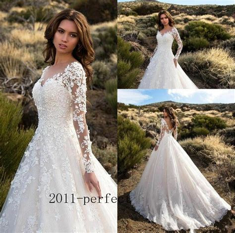 Sheer Lace Applique Long Sleeve Wedding Dress V Neck