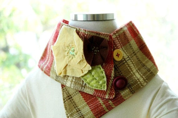 CHILDRENS SCARFLETTE with MUSTARD/BROWN fabric rose accent (4 YRS. TO PRETEEN)