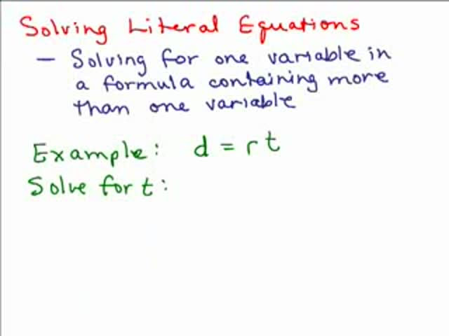 Solving Rational Literal Equation Help Video In High School Math