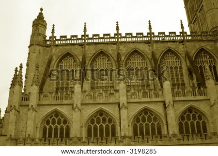 Ancient Gothic Church Parapet