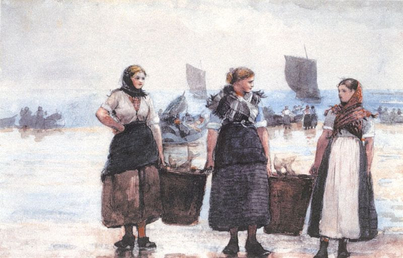 File:Homer, Winslow - 'Fisherwomen, Cullercoats', 1881, graphite & watercolor on paper.jpg