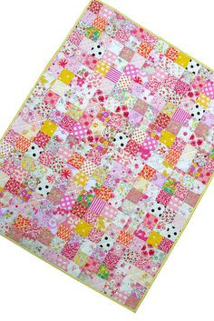 Red Pepper Quilts. beautiful liberty of london tana lawn baby quilt--love the dashes of yellow and black and white polka dots