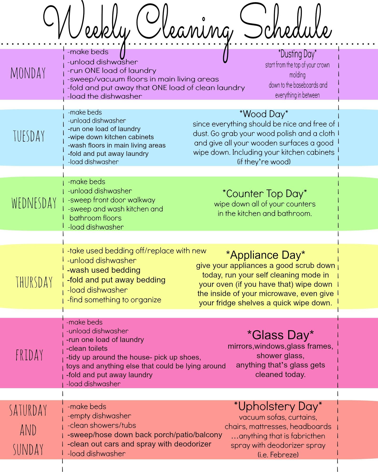 House Cleaning Schedule   Mom, Do what and Inspiration