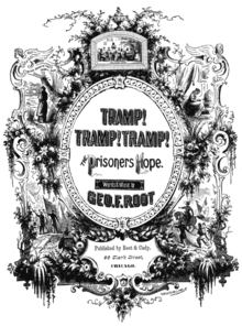 "Ornate decoration on a cover subtitled  ""The Prisoners of Hope"" by Geo. F. Root."
