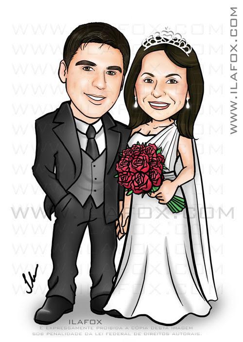 caricatura noivinhos, casal, corpo inteiro, colorido, caricatura para casamento by ila fox