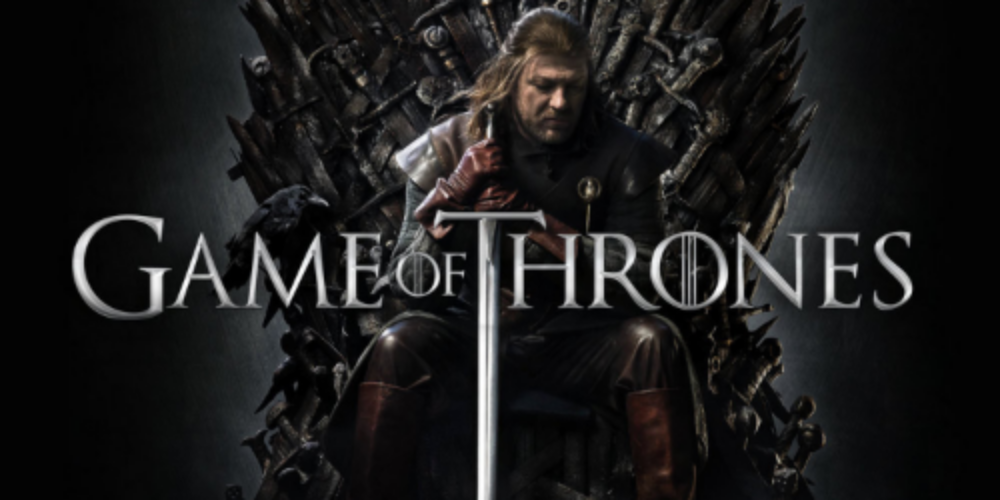 Ned Stark sitting on the troublesome Iron Throne
