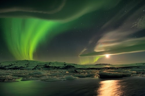 Aurora and Unusual Clouds Over Iceland