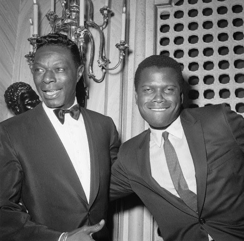 "Sidney Poitier and Nat ""King"" Cole cutting up at the 1963 #Oscars at the Santa Monica Civic Auditorium, April 8, 1963. One of my favorite pictures EVER! Photo: Michael Ochs Archives, Corbis."
