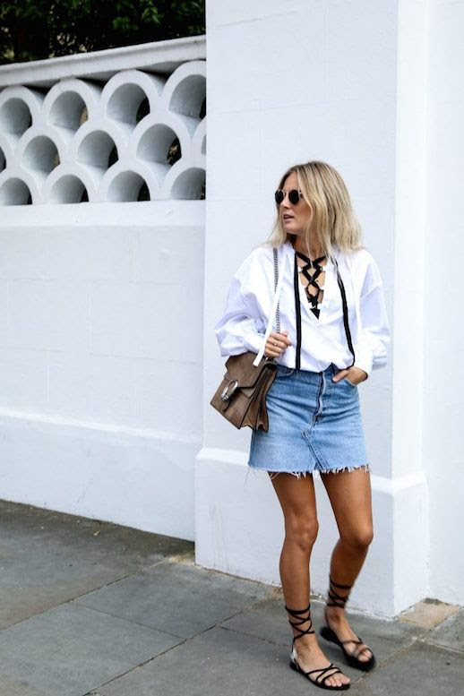 Le Fashion Blog White Blouse Denim Mini Black Strappy Flats Via Fashion Me Now