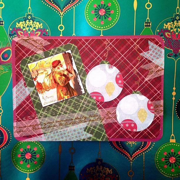 #santaclaus #baubles #washitape #christmas #postcard #snailmail