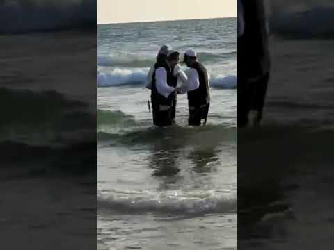 Hasidim Dancing in the Pool