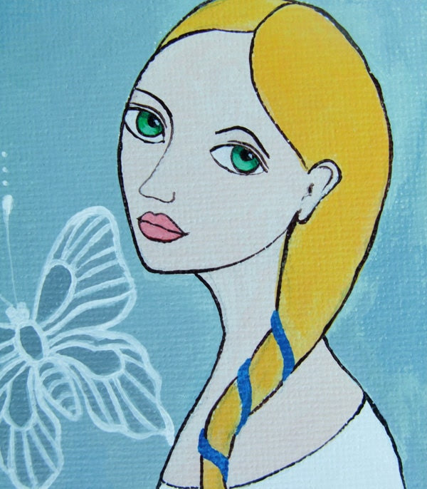 """Original Acrylic Painting """"White Butterfly"""""""