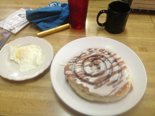 Cinnamon Roll pancakes. Block House Cafe, Dayton