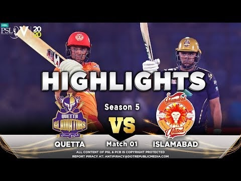 Quetta Gladiator Vs Islamabad United 1st Match of PSL 2020 Highlights HD