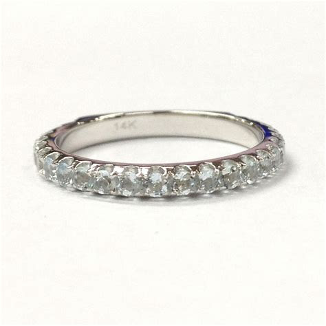 2mm Blue Aquamarine Wedding Band Engagement Ring in 14K