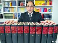 Alexander Bob Brockhaus, head of the company, in front of a Brockhaus edition