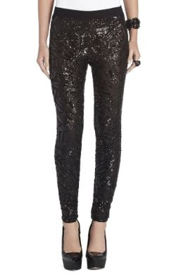 BCBGMAXAZRIA Selby Deco Sequin-Applique Leggings