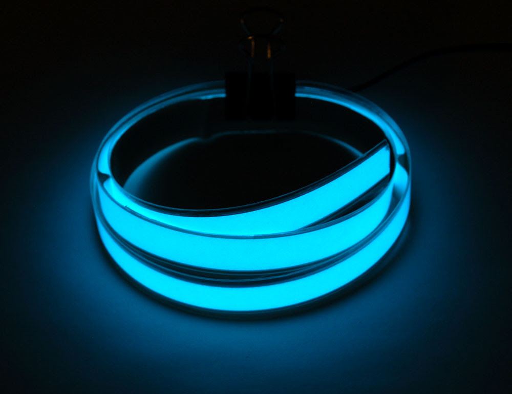 Aqua Electroluminescent (EL) Tape Strip - 100cm w/two connectors - Click Image to Close
