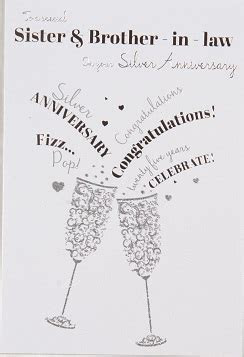 Sister & Brother in Law Silver Wedding Anniversary Card