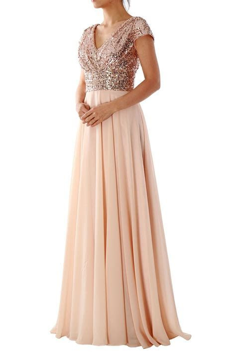 MACloth Cap Sleeve V Neck Sequin Chiffon Bridesmaid Dress