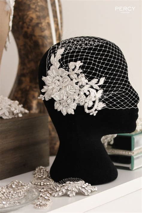 Ivory Lace birdcage veil by Percy Handmade   Veils