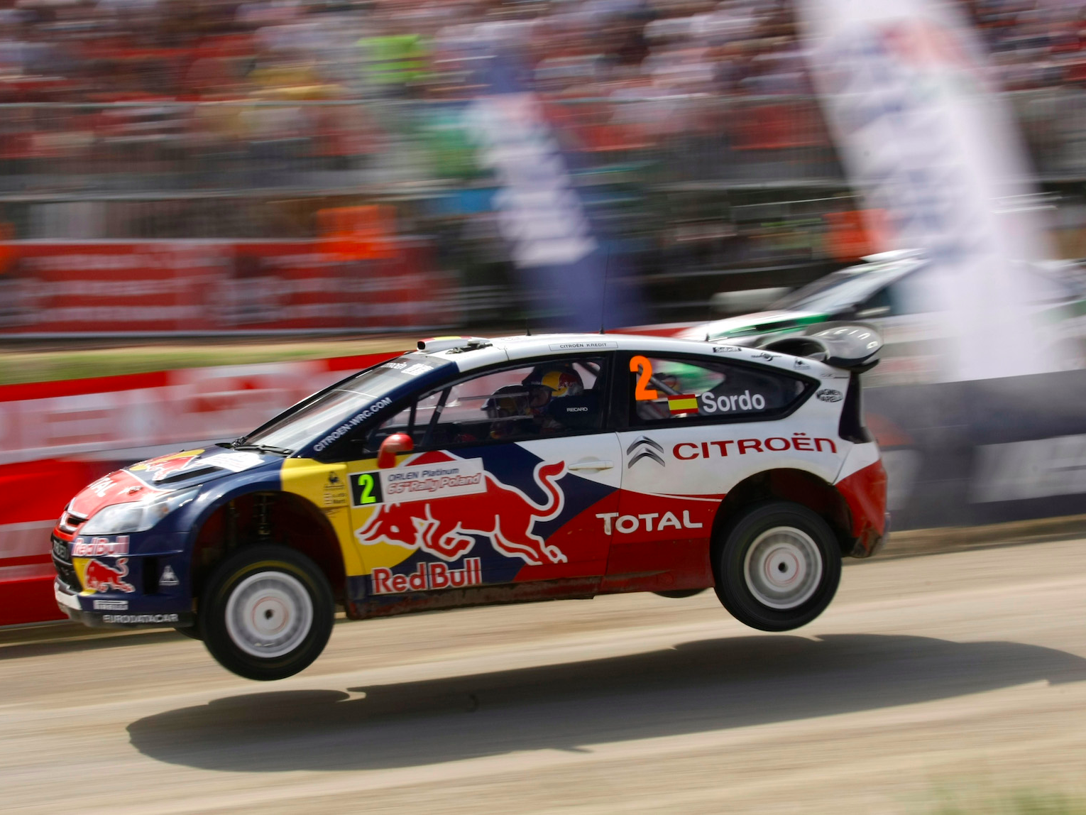 Dani Sordo of Spain and co-driver and compatriot Marc Marti in their Citroen WRC drive for the second place in the 66th Rally Poland in Mikolajki June 28, 2009.