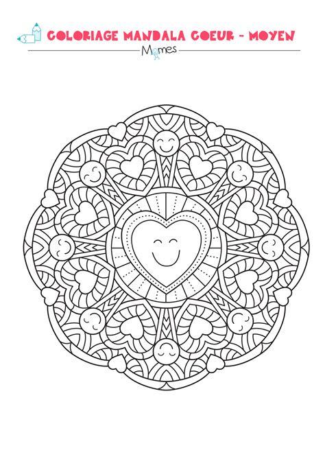 coloriage mandala coeur moyen momesnet