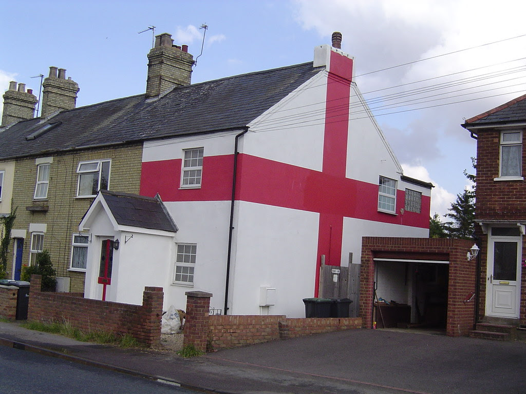 House decorated with cross of St. George