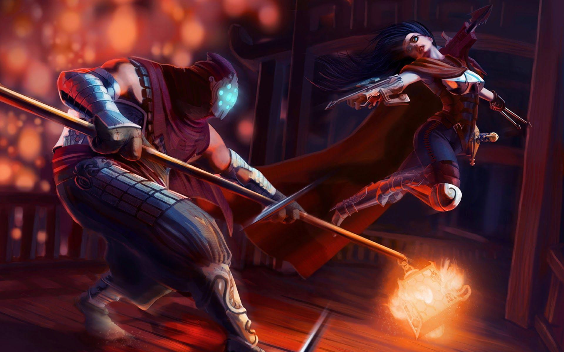 Hd Jax And Vayne Fighting League Of Legends Wallpaper Download