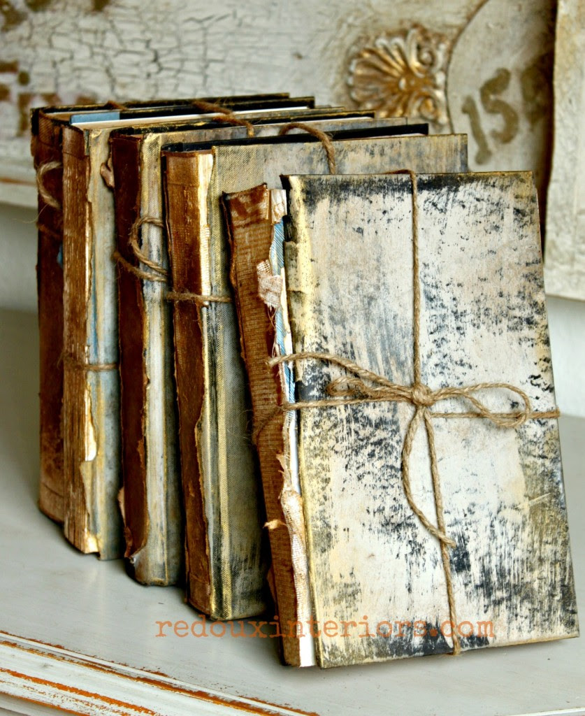 Antiqued books front with cece caldwells paints redouxinteriors