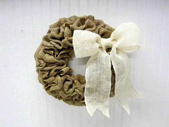 burlap wreath - featured at KnickofTime.net