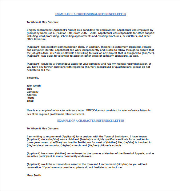 15 Samples Professional Character Reference Letter With