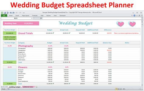 Wedding Budget Spreadsheet   Wedding Budget in Excel