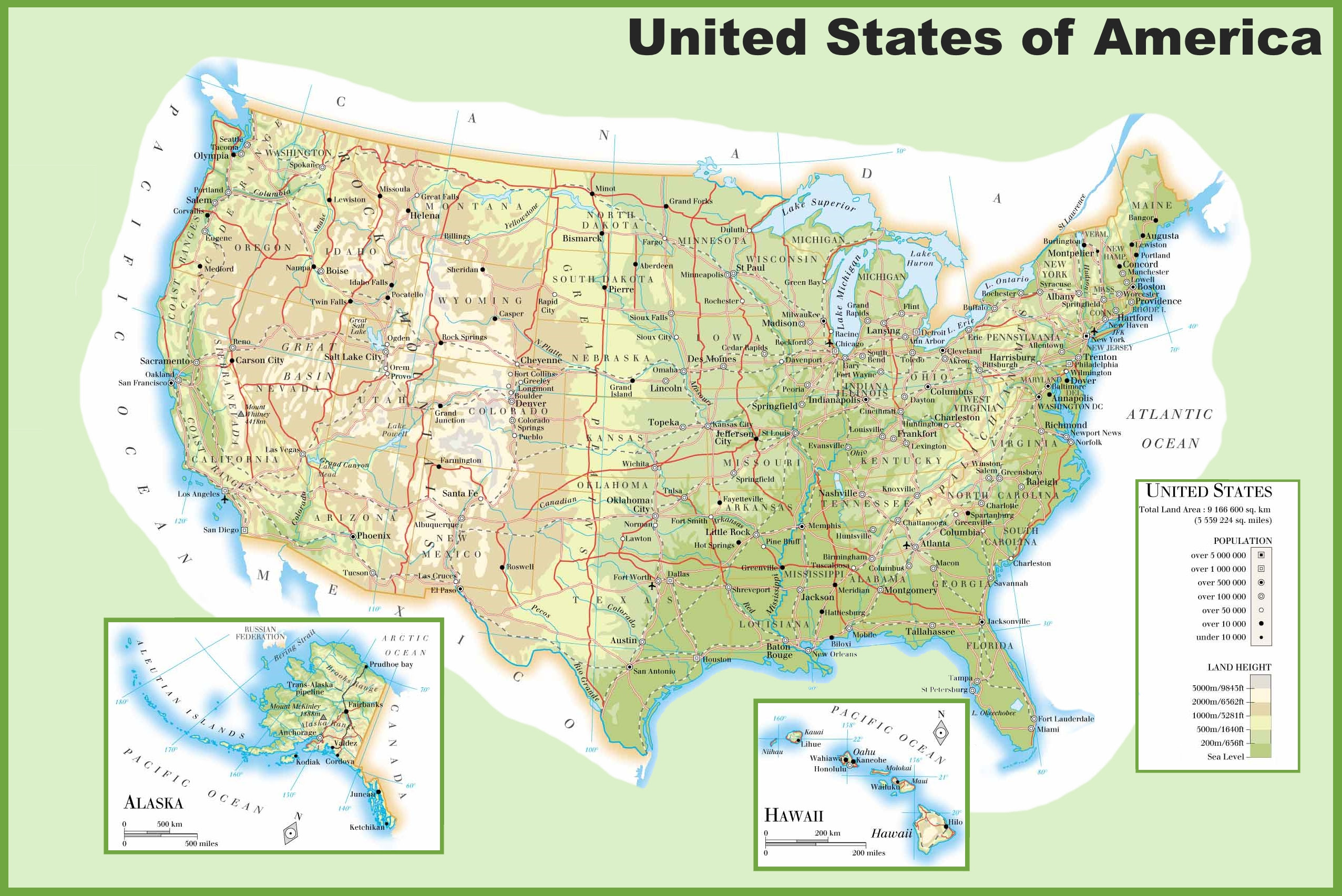 Picture of: Us Physical Map With Rivers And Mountains