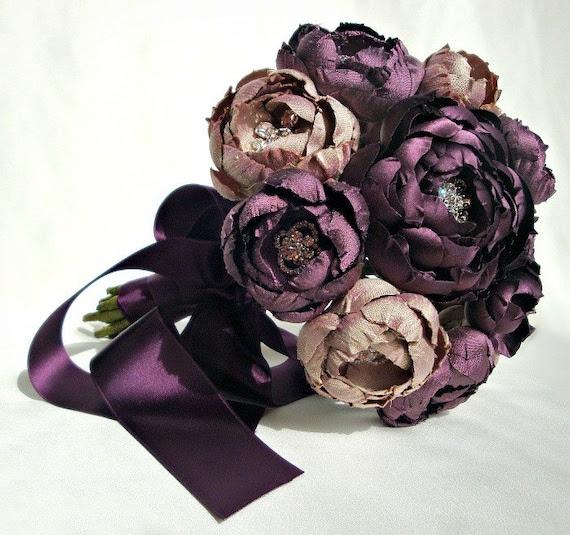 Plum and Lavender Champagne Silk Catala Bouquet