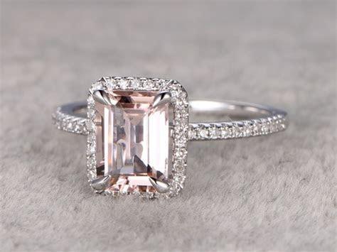 Emerald Cut Morganite Engagement Ring Diamond Wedding Band