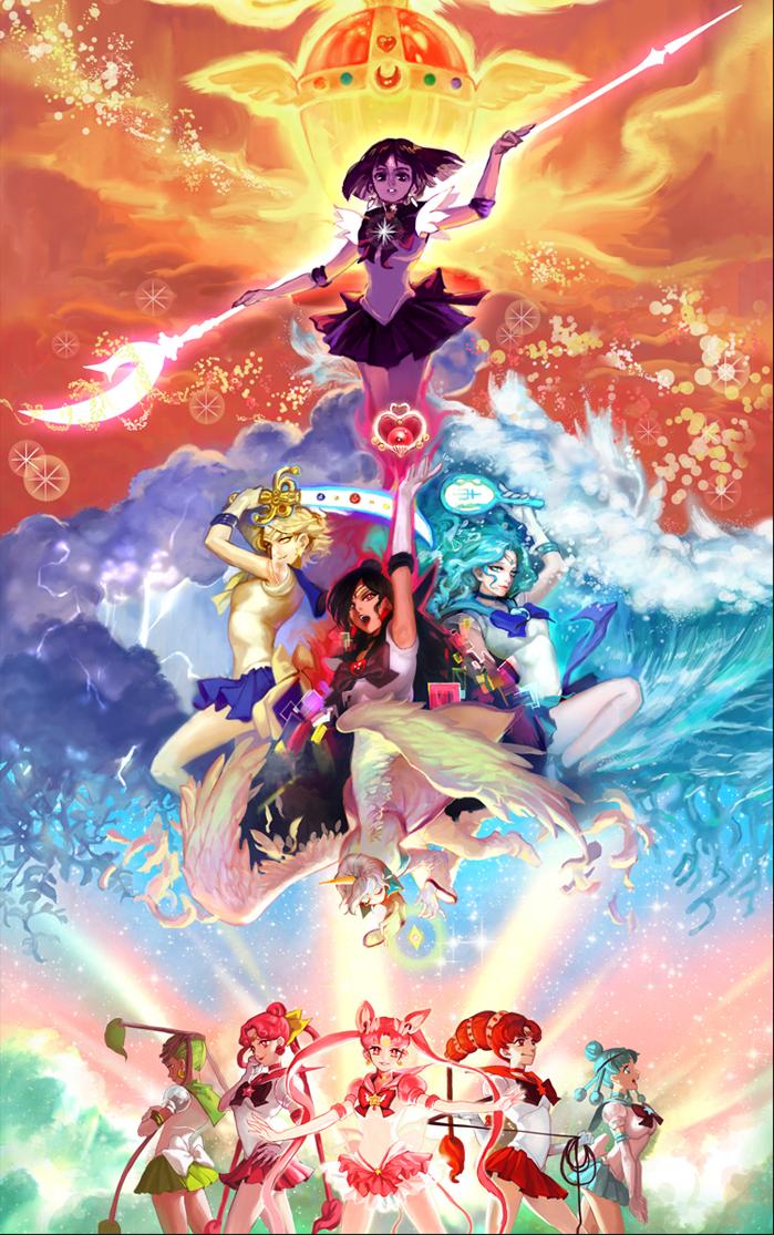 digital art sailor moon manga illustration ...