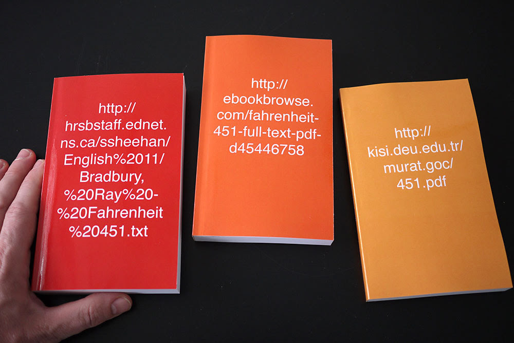 Syjuco, Stephanie. Re-editioned texts: Fahrenheit 451.  PoD, 2013. Set of 3 books.