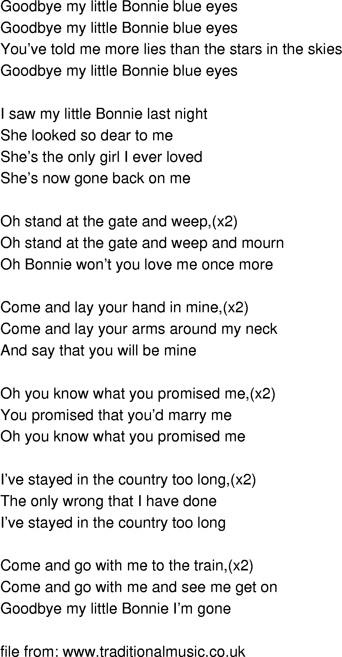Old Time Song Lyrics Bonnie Blue Eyes