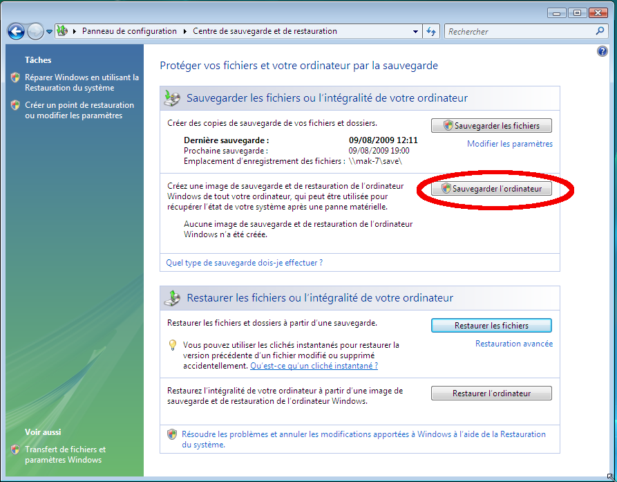 Tutoriel Centre Sauvegarde de Windows Vista/Seven