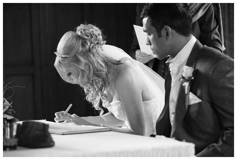 Weddings at Fanhams Hall 10, Signing register