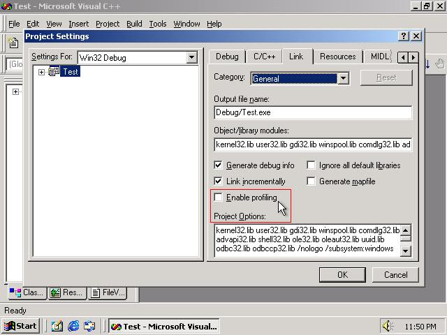 Picture of Visual C++ 6.0 'Enable Profile' checkbox