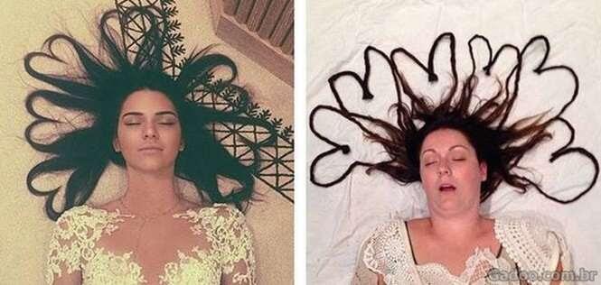 Mulher recria fotos de famosas no Instagram como uma pessoa comum