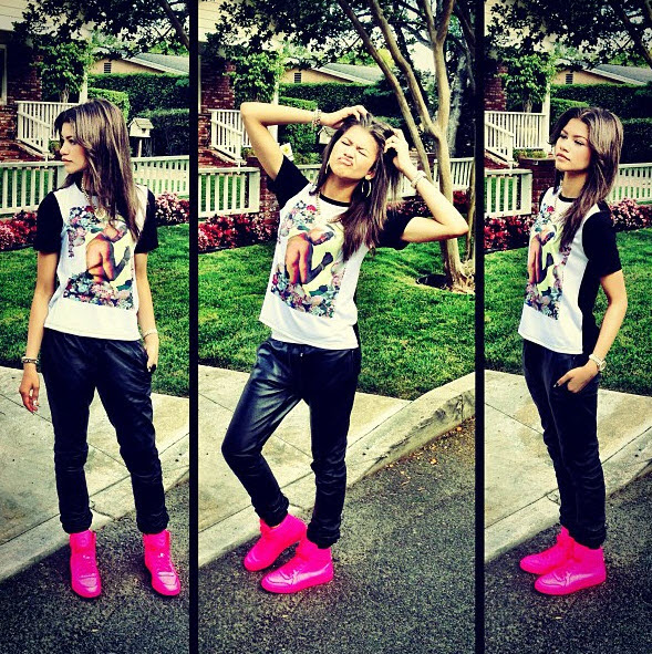 zendaya-coleman-instagram-dimepiece-gangster-chic-tee-gucci-coda-neon-pink-leather-sneakers